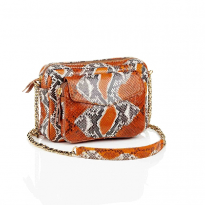 Billede af Claris Virot Bag Big Python Charly Orange Painted With Chain